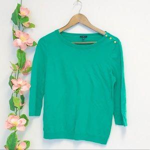 Talbots Petite Kelly Green Boatneck Sweater